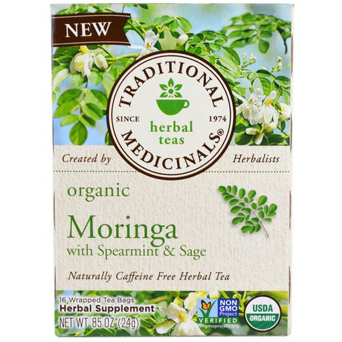 Traditional Medicinals, Organic Moringa with Spearmint & Sage, 16 Wrapped Tea Bags, 86 oz (24 g) Review
