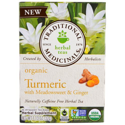Traditional Medicinals, Organic Turmeric with Meadowsweet & Ginger, 16 Wrapped Tea Bags, 1.13 oz (32 g) Review