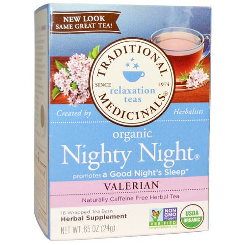 Traditional Medicinals, Relaxation Teas, Organic Nighty Night, Naturally Caffeine Free Herbal Tea, Valerian, 16 Wrapped Tea Bags, .85 oz (24 g) Review