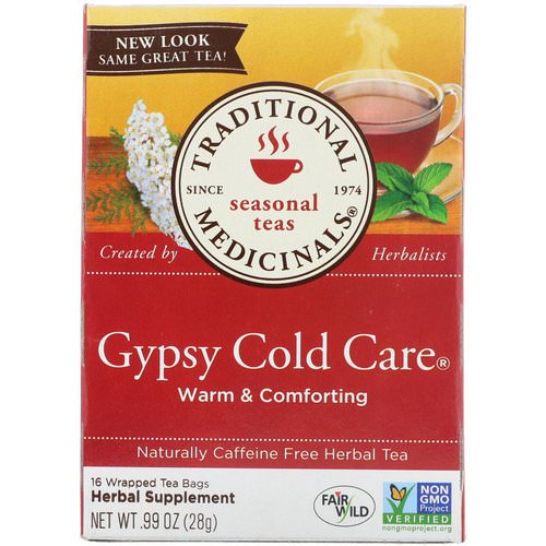 Traditional Medicinals, Seasonal Teas, Gypsy Cold Care, Naturally Caffeine Free, 16 Wrapped Tea Bags, .99 oz (28 g) Review