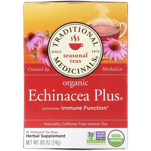 Traditional Medicinals, Seasonal Teas, Organic Echinacea Plus, Naturally Caffeine Free, 16 Wrapped Tea Bags, .85 oz (24 g) Review