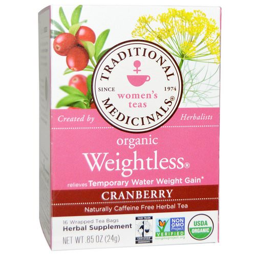 Traditional Medicinals, Women's Teas, Organic Weightless, Naturally Caffeine Free Herbal Tea, Cranberry, 16 Wrapped Tea Bags, .85 oz (24 g) Review