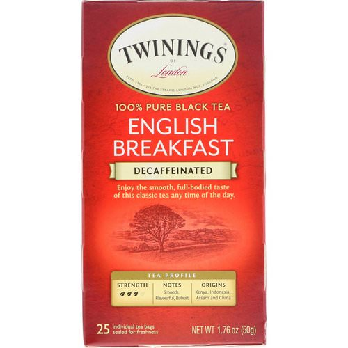 Twinings, 100% Pure Black Tea, English Breakfast, Decaffeinated, 25 Tea Bags, 1.76 oz (50 g) Review