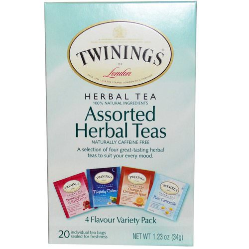 Twinings, Assorted Herbal Teas, Variety Pack, Caffeine Free, 20 Tea Bags, 1.23 oz (34 g) Review
