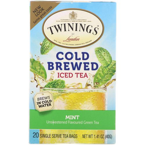 Twinings, Cold Brewed Iced Tea, Green Tea with Mint, 20 Tea Bags, 1.41 oz (40 g) Review