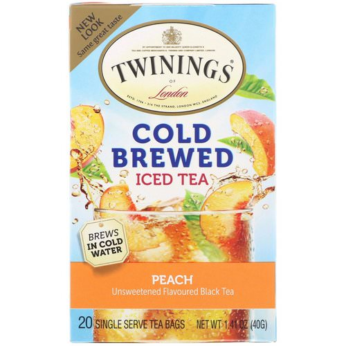 Twinings, Cold Brewed Iced Tea, Peach, 20 Tea Bags, 1.41 oz (40 g) Review