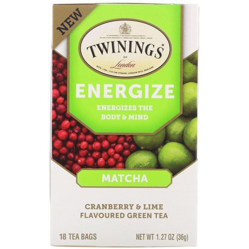 Twinings, Energize Herbal Tea, Matcha, Cranberry & Lime, 18 Tea Bags, 1.27 oz (36 g) Review