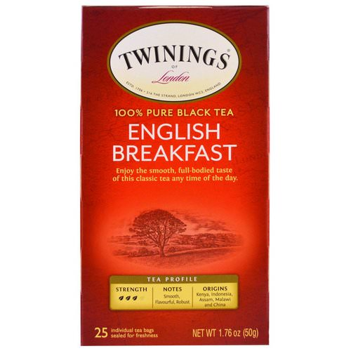 Twinings, English Breakfast Tea, 25 Individual Tea Bags, 1.76 oz (50 g) Review