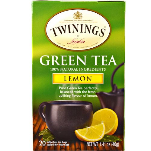 Twinings, Green Tea, Lemon, 20 Tea Bags - 1.41 oz (40 g) Review