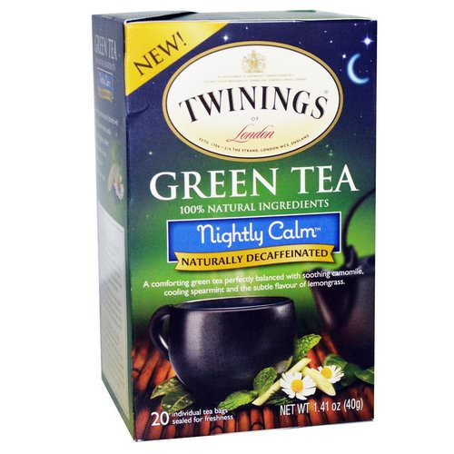 Twinings, Green Tea, Nightly Calm, Naturally Decaffeinated, 20 Tea Bags, 1.41 oz (40 g) Review
