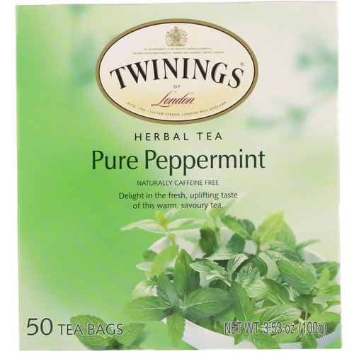 Twinings, Herbal Tea, Pure Peppermint, Caffeine Free, 50 Tea Bags, 3.53 oz (100 g) Review
