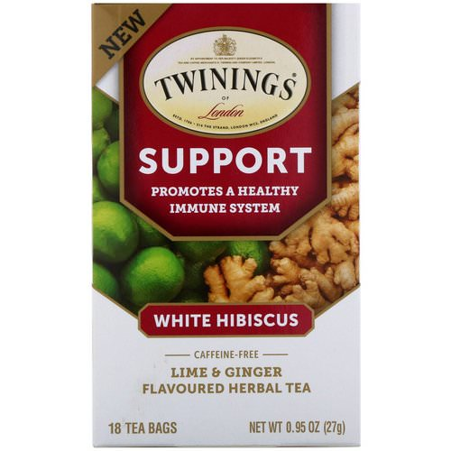 Twinings, Support Herbal Tea, White Hibiscus, Lime & Ginger, Caffeine Free, 18 Tea Bags, 0.95 oz (27 g) Review