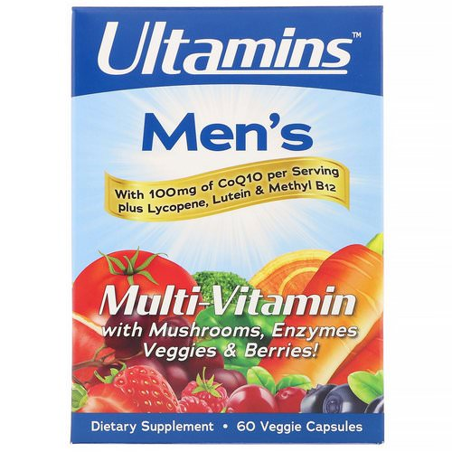 Ultamins, Men's Multi-Vitamin with CoQ10, Mushrooms, Enzymes, Veggies & Berries, 60 Veggie Capsules Review