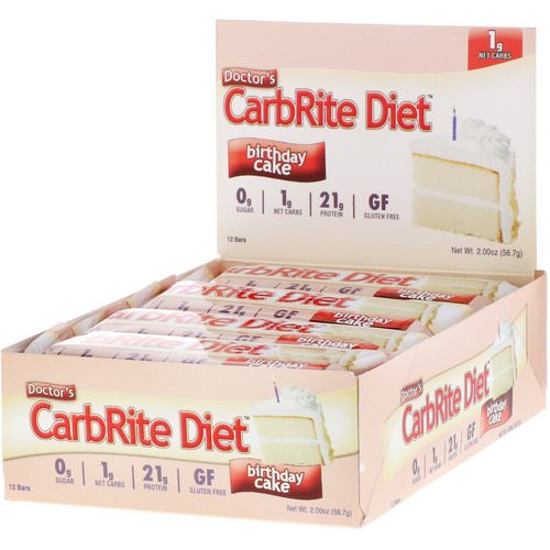 Universal Nutrition, Doctor's CarbRite Diet Bar, Birthday Cake, 12 Bars, 2 oz (56.7 g) Each Review