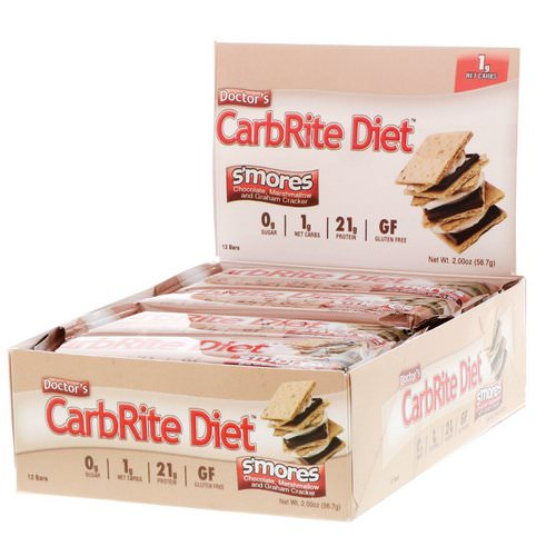 Universal Nutrition, Doctor's CarbRite Diet Bar, Sugar Free, Smores, 12 Bars, 2.00 oz (56.7 g) Each Review