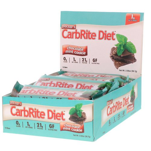 Universal Nutrition, Doctor's CarbRite Diet, Sugar Free Bar, Chocolate Mint Cookie, 12 Bars, 2.00 oz (56.7 g) Each Review