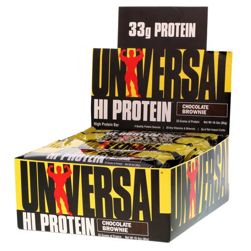 Universal Nutrition, Hi Protein Bar, Chocolate Brownie, 16 Bars, 3 oz (85 g) Each Review