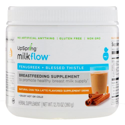 UpSpring, Milkflow, Fenugreek + Blessed Thistle, Natural Chai Tea Latte Flavored Supplement Drink, 12.70 oz (360 g) Review