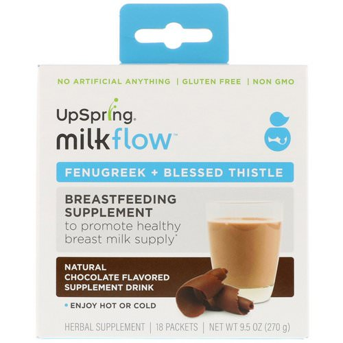 UpSpring, Milkflow, Fenugreek + Blessed Thistle Supplement Drink, Natural Chocolate Flavor, 18 Packets, (15 g) Each Review