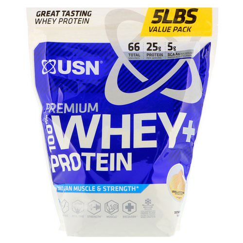 USN, Premium 100% Whey + Protein, Vanilla Ice Cream, 5 lbs (2.27 kg) Review