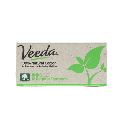 Veeda, 100% Natural Cotton Tampon, Regular, 16 Tampons Review