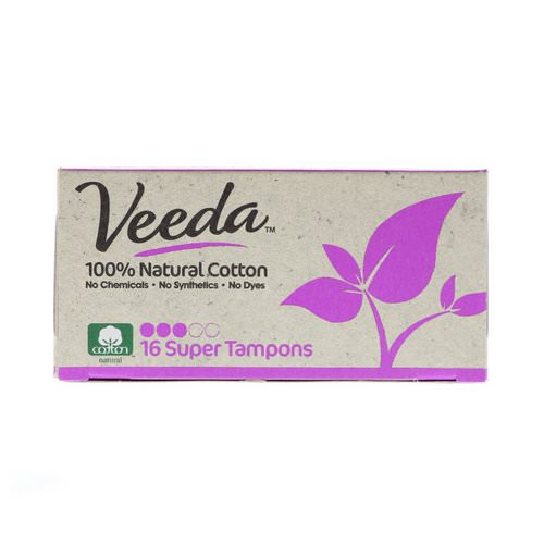 Veeda, 100% Natural Cotton Tampon, Super, 16 Tampons Review