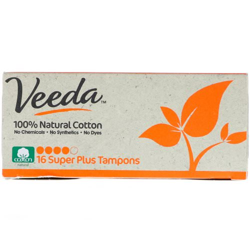 Veeda, 100% Natural Cotton Tampon, Super Plus, 16 Tampons Review