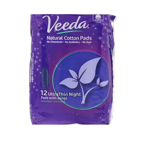 Veeda, Natural Cotton Pads with Wings, Ultra Thin, Night, 12 Pads Review