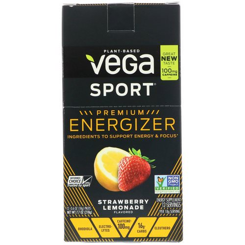 Vega, Energizer, Strawberry Lemonade, 12 Packs, 0.6 oz (18 g) Each, 12 Packs, 0.6 oz (18 g) Each Review