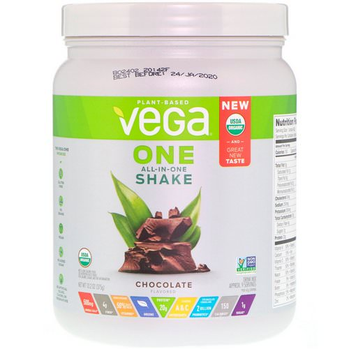 Vega, One, All-in-One Shake, Chocolate, 13.2 oz (375 g) Review