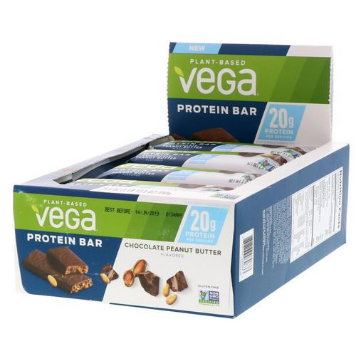 Vega, Protein Bar, Chocolate Peanut Butter, 12 Bars, 2.5 oz (70 g) Each Review