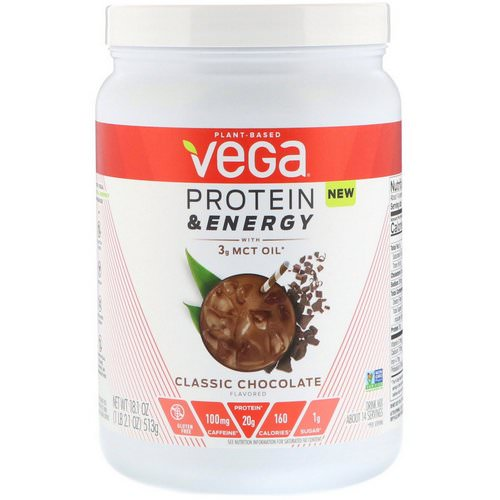 Vega, Protein & Energy with 3 g MCT Oil, Classic Chocolate, 1.1 lbs (513 g) Review