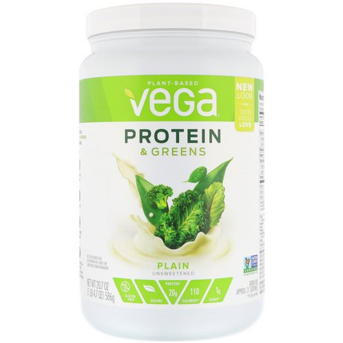 Vega, Protein & Greens, Plain Unsweetened, 1.3 lbs (586 g) Review