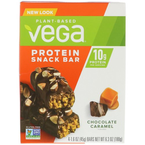 Vega, Snack Bar, Chocolate Caramel, 4 Bars, 1.6 oz (45 g) Each Review