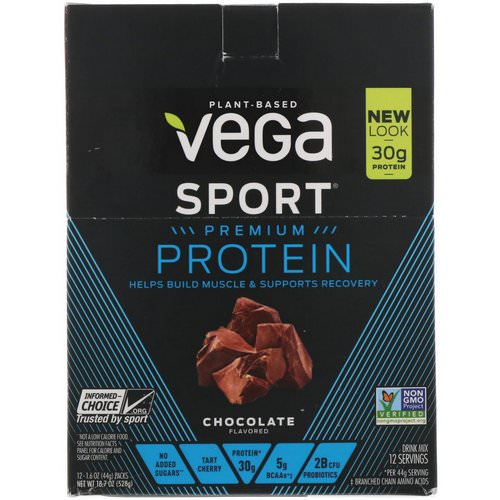 Vega, Protein, Chocolate, 12 Pack, 1.6 oz (44 g) Each Review