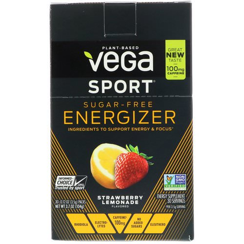 Vega, Sport, Sugar-Free Energizer, Strawberry Lemonade, 30 Packs, 0.12 oz (3.5 g) Each Review
