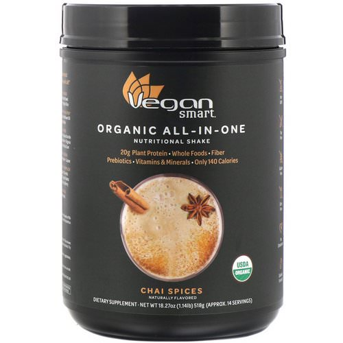 VeganSmart, Organic All-In-One Nutritional Shake, Chai Spices, 18.27 oz (518 g) Review