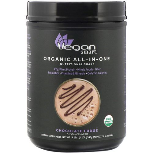 VeganSmart, Organic All-In-One Nutritional Shake, Chocolate Fudge, 19.25 oz (546 g) Review
