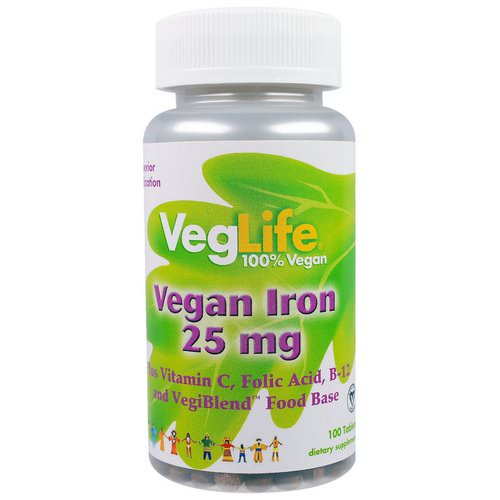 VegLife, Vegan Iron, 25 mg, 100 Tablets Review