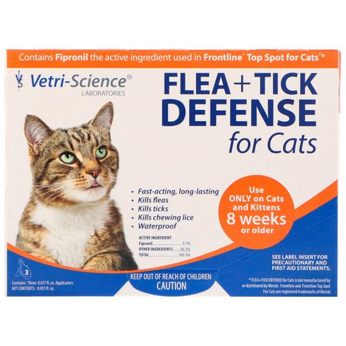 Vetri-Science, Flea + Tick Defense for Cats 8 Weeks or Older, 3 Applicators, 0.017 fl oz Each Review