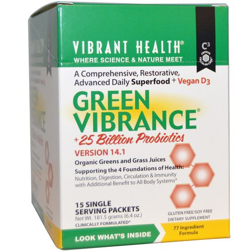 Vibrant Health, Green Vibrance +25 Billion Probiotics, Version 14.1, 15 Packets, 6.4 oz (181.5 g) Review