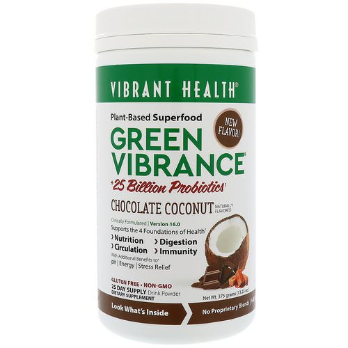 Vibrant Health, Green Vibrance +25 Billion Probiotics, Version 16.0, Chocolate Coconut, 13.23 oz (375 g) Review