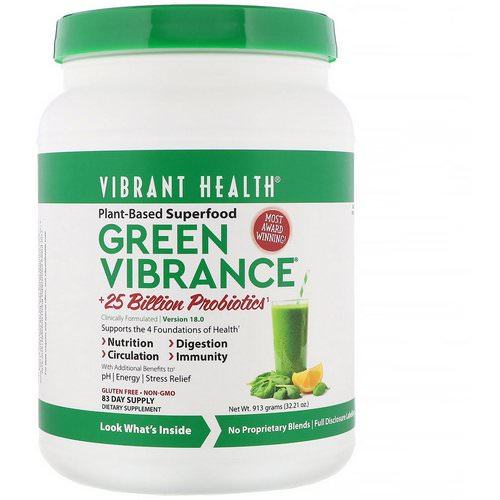 Vibrant Health, Green Vibrance +25 Billion Probiotics, Version 18.0, 32.21 oz (913 g) Review