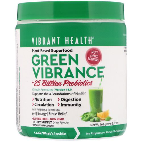 Vibrant Health, Green Vibrance +25 Billion Probiotics, Version 18.0, 5.82 oz (165 g) Review