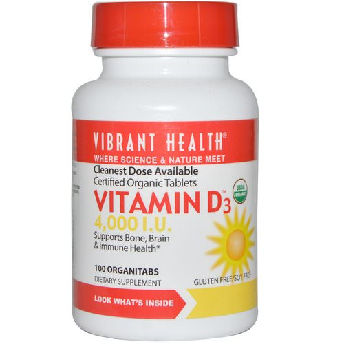Vibrant Health, Vitamin D3, 4,000 I.U, 100 OrganiTabs Review
