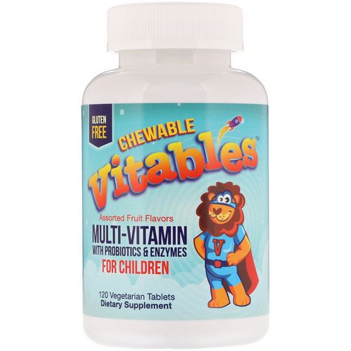 Vitables, Chewable Multi-Vitamins with Probiotics & Enzymes for Children, Assorted Fruit Flavors, 120 Vegetarian Tablets Review