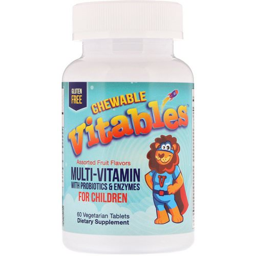 Vitables, Chewable Multi-Vitamins with Probiotics & Enzymes for Children, Assorted Fruit Flavors, 60 Vegetarian Tablets Review