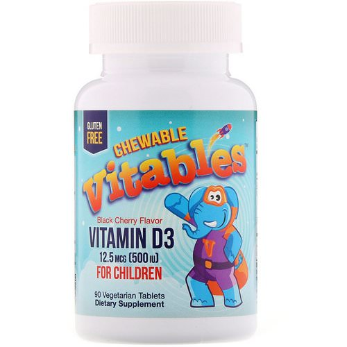 Vitables, Vitamin D3 Chewables for Children, Black Cherry, 12.5 mcg (500 IU), 90 Vegetarian Tablets Review