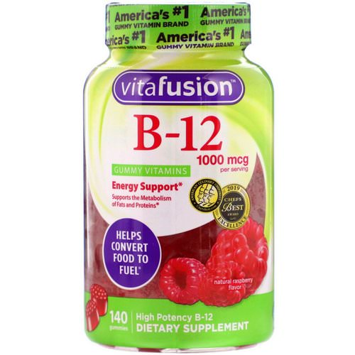 VitaFusion, B12 Adult Vitamins, Energy Support, Natural Raspberry Flavor, 1000 mcg, 140 Gummies Review