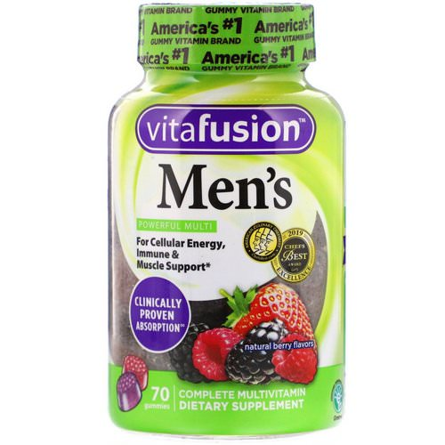 VitaFusion, Men's Complete Multivitamin, Natural Berry Flavors, 70 Gummies Review